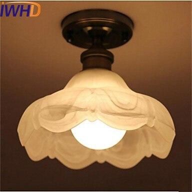 IWHD Glass Vintage Retro Ceiling Light Fixtures Hallway Plafondlamp Industrial Ceiling Lamp LED Bedroom Living Room Lights
