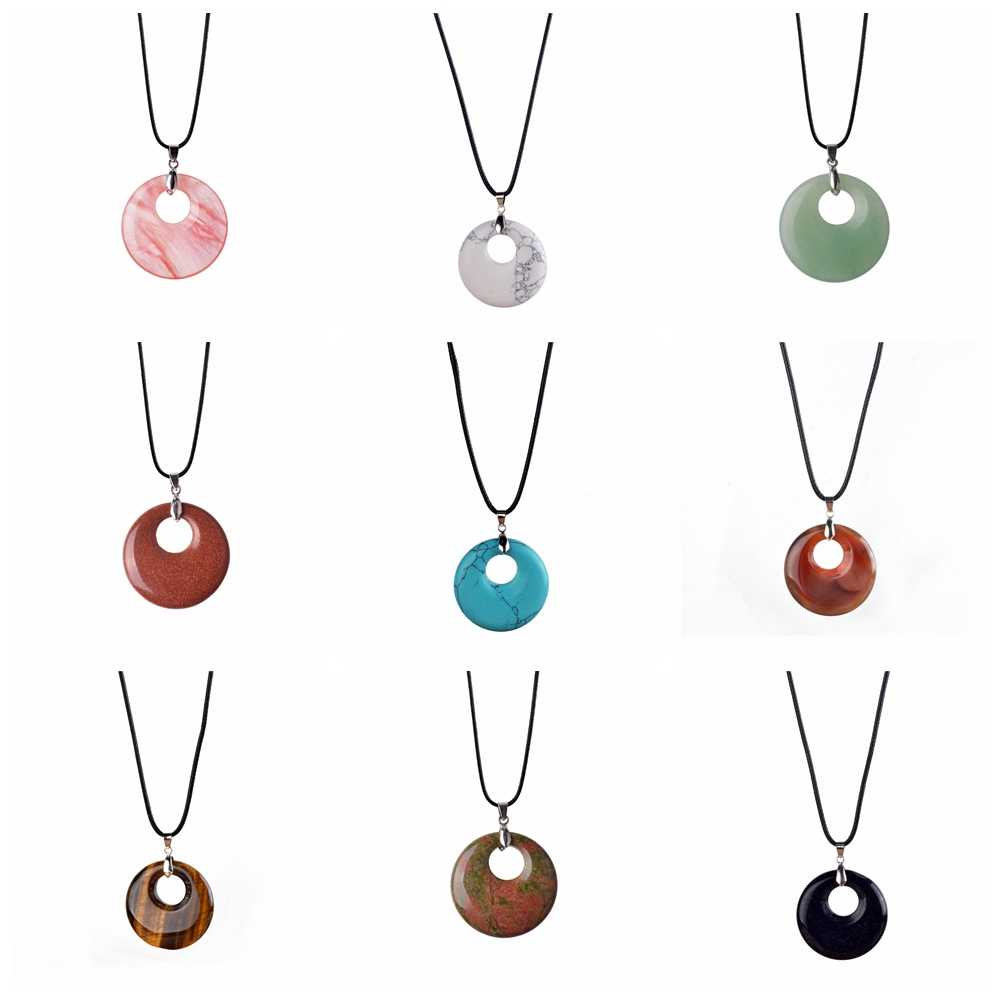 Green Dongling Pendant New Fashion Oval Round Donuts Peace Natural Stone Pendant Pendant Man Woman Gift