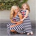 Mãe filha roupas família combinando vestidos de mãe e filha vestido de verão sem mangas listrado 2017 olhar família clothing