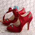 Wedopus MW505 Women Peep Toe Wine Red Satin Mary Jane Wedding Bridal Shoes Party