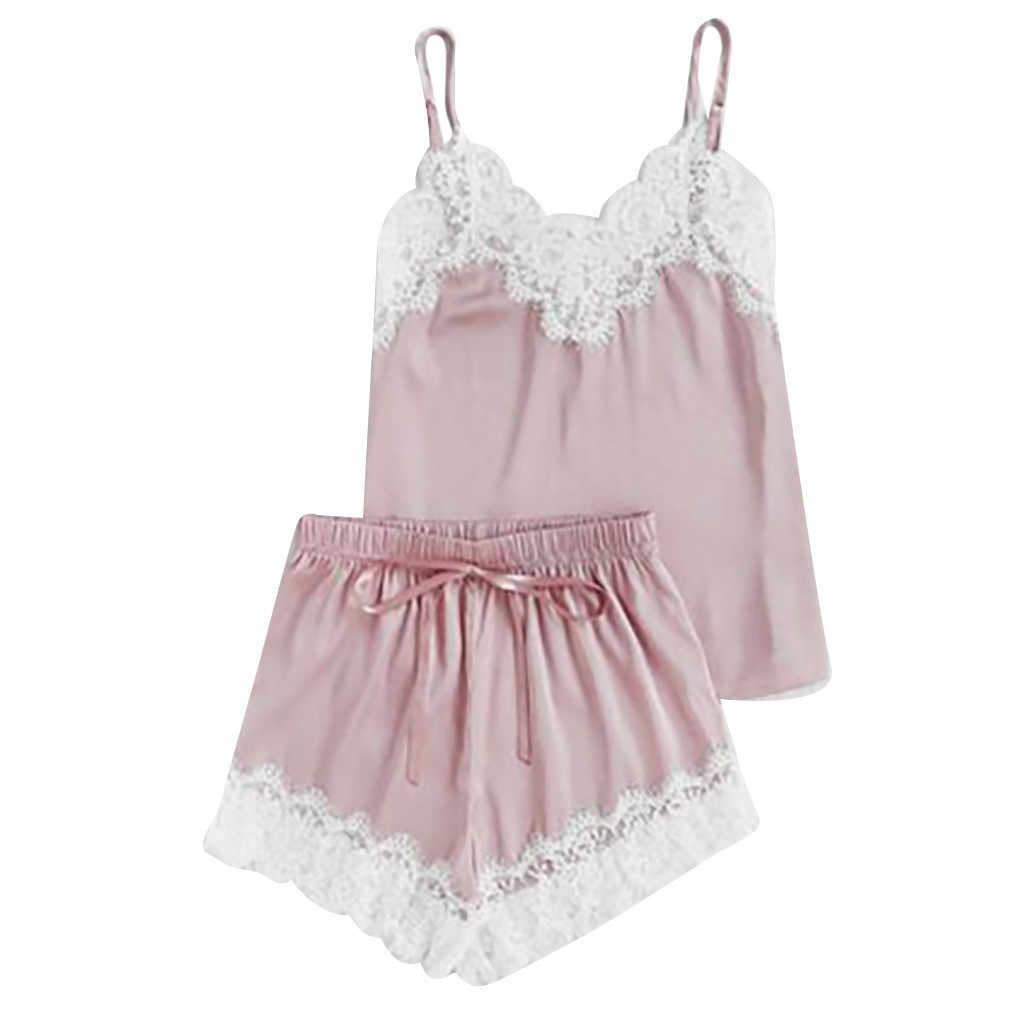 aba112fa41 ... home suit shein women's pajamas sexy lingerie Satin Sling Sleepwear  Lingerie Lace Bowknot Nightdress Underwear set ...