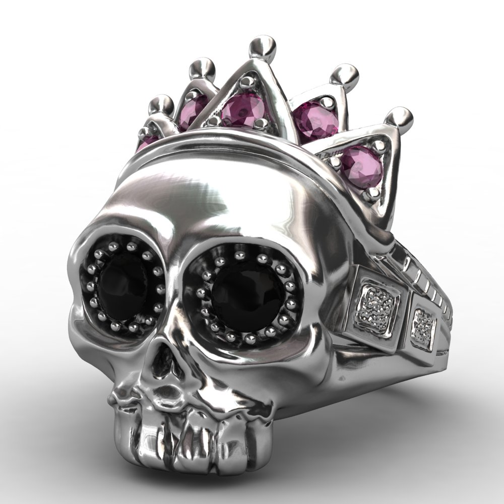 EVBEA 316L Stainless Steel Pink Crown Skull Ring High Quality Fashion Biker Skull Ring Personality Men Jewelry 2017 New Design