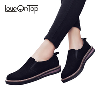 Loveontop winter women's suede leather new arrival loafers ladies Oxford shoes soft casual flat comfortable black youth shoes