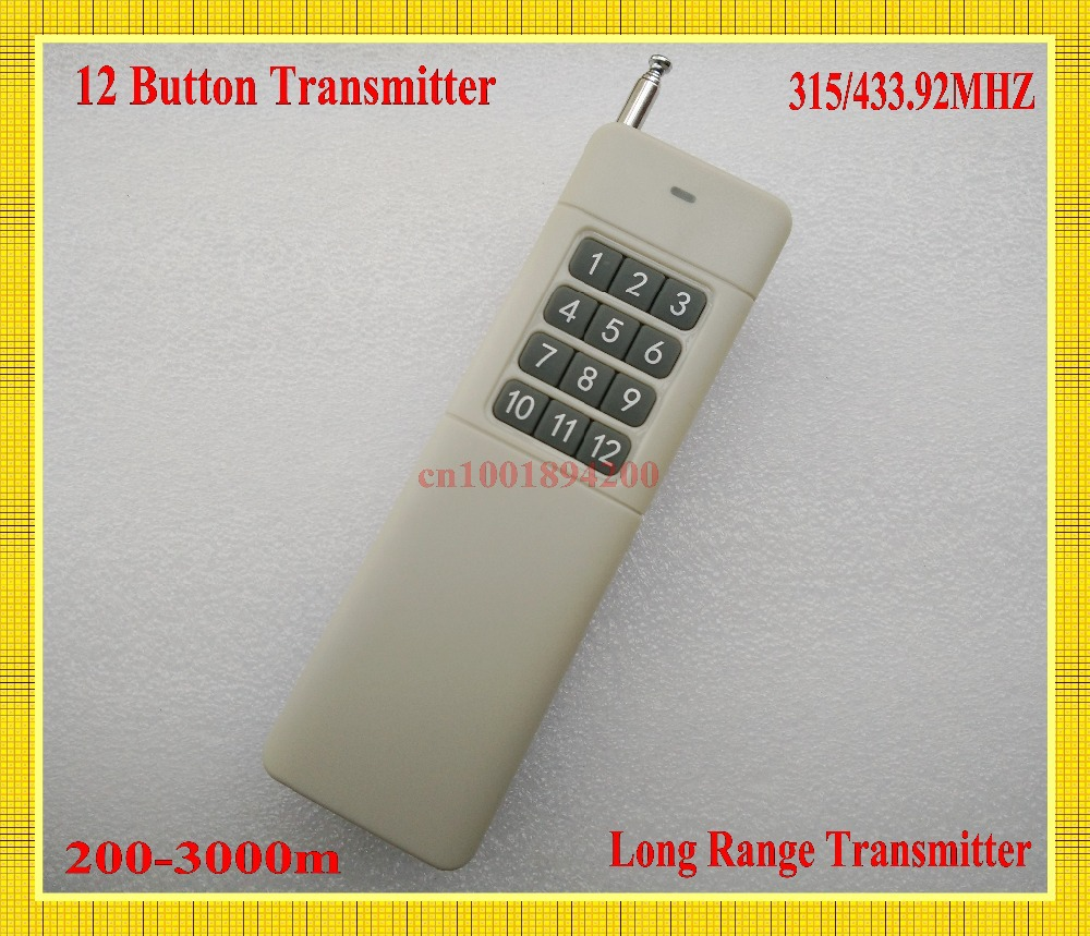 Long Range Remote Control 12 CH Button Transmitter TX Big Button Wireless Remote 200-3000m Radio Remote Key 315/433.92mhz remote control transmitter for remote switch 1 2 3 4 6 8 button small size long range big button remote key pad 315 433 22621527
