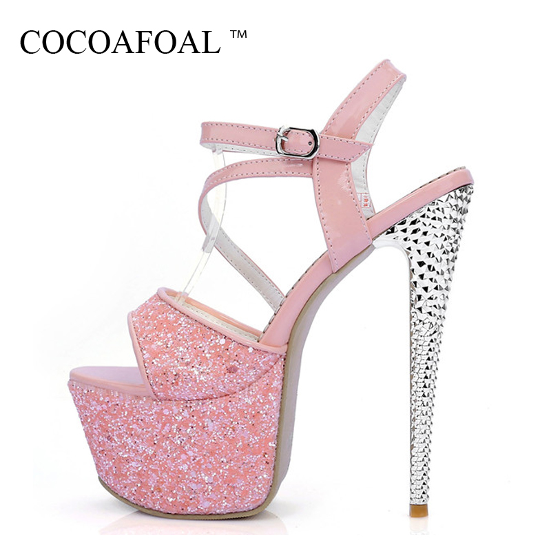 COCOAFOAL Women High Heels 16 CM Sandals Plus Size 33 - 40 Blue Pink Rose Sandals Bling Fashion Sexy Purple Peep Toe Pumps 2018 big size 40 41 42 women pumps 11 cm thin heels fashion beautiful pointy toe spell color sexy shoes discount sale free shipping