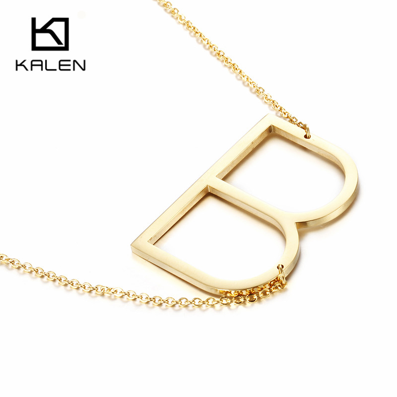 kalen new brand gold color capital letter b pendant necklaces for women stainless steel alphabet fashion
