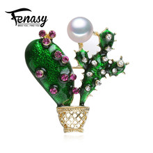 FENASY Autumn Noble cactus Elegant Pearl Brooch Pins,bohemian Crown Brooch Set Natural Pearl Vintage Brooch Jewelry(China)