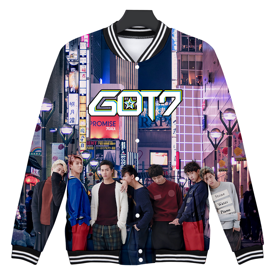 GOT7 Jackets Winter Fashion K-pop Long Sleeve Baseball Jacket Outerwear Coats Harajuku Print Casual Basic Jacket 4XL