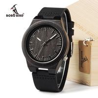 BOBO BIRD Ebony Wood Men S Designer Bamboo Wooden Wristwatch With Genuine Leather Strap Casual Men