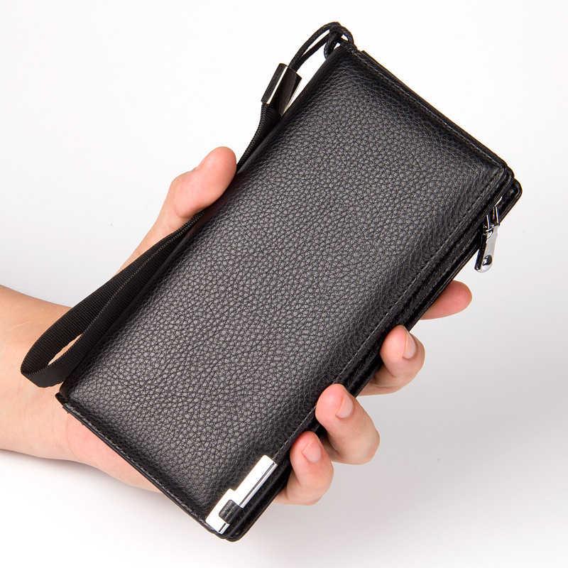 6a0e7d8627f0 Лидер продаж Для мужчин бумажник мужской бизнес длинный кошелек карман на молнии  кошельки Повседневное Для мужчин