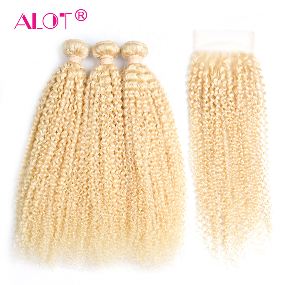 Alot Brazilian Kinky Curly 613 Blonde Human Hair 3 Bundles With Closure Can Be Made to