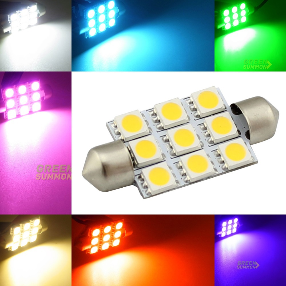 39mm LED 9 5050 SMD light Interior Festoon Dome Bulb Blue Red Yellow Green Warm White purpleC5W DC 12V Lamp Lights  100pcs t10 3w 360 degree wedge 5050 9 smd led bulb xenon white white warm white yellow red blue green car tail light