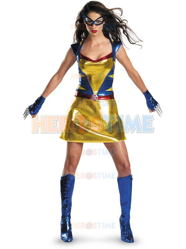 Sexy Wild Thing Superhero Costume Shiny Metallic halloween cosplay X-men Costume the most popular Free shipping