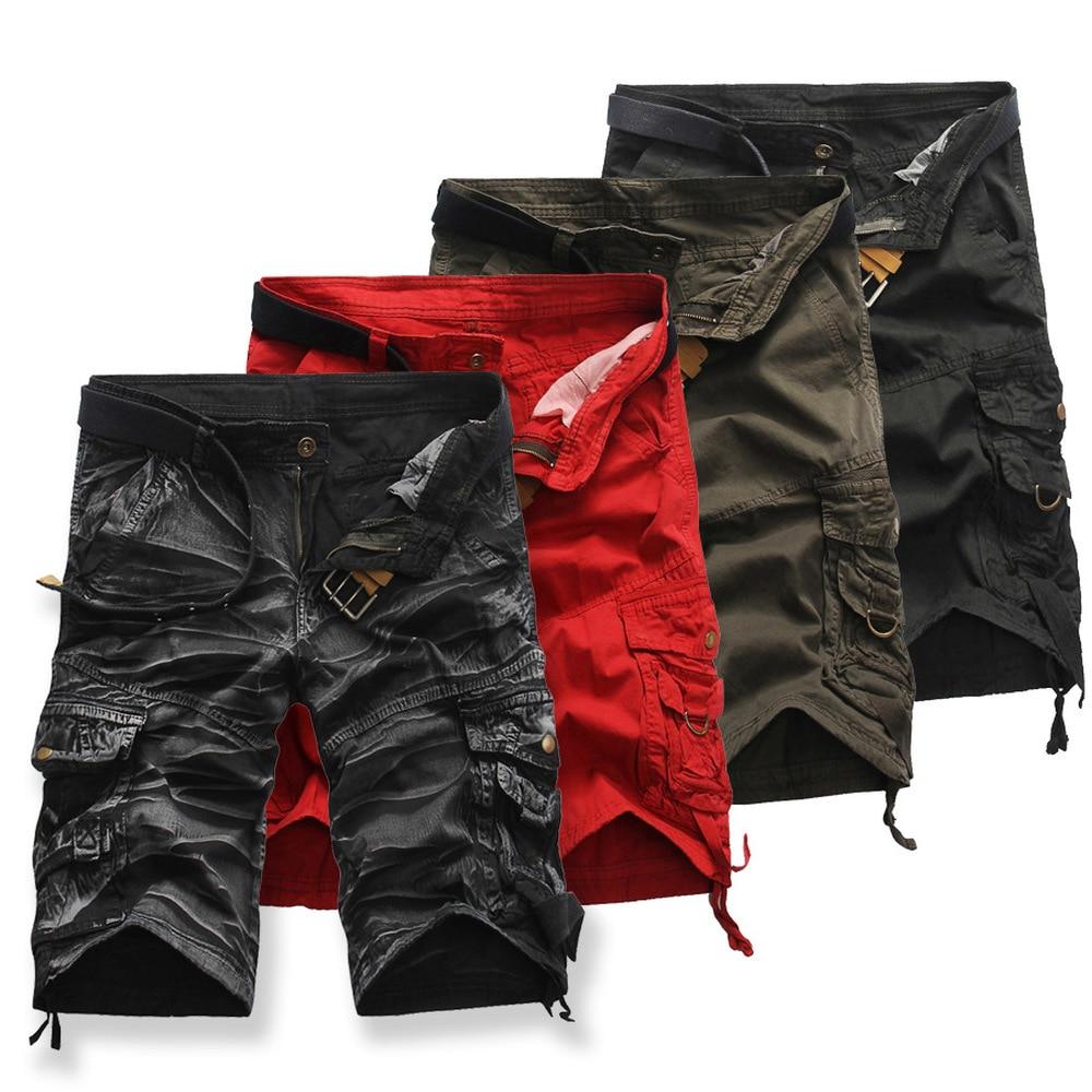 Mens New mens large size multi-pocket loose pants K19