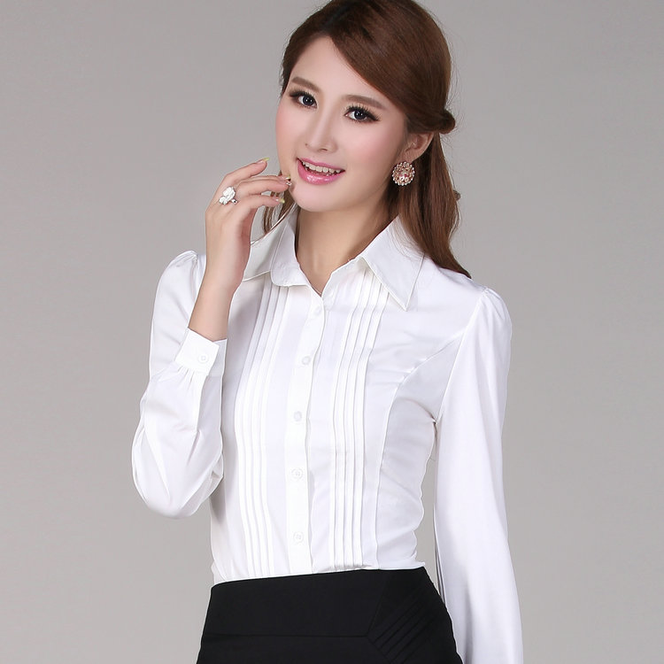 312be37446511 OL blouse Women s formal chiffon long-sleeve shirt female work wear puff  sleeve slim fashion plus size career blouse bust 110cm