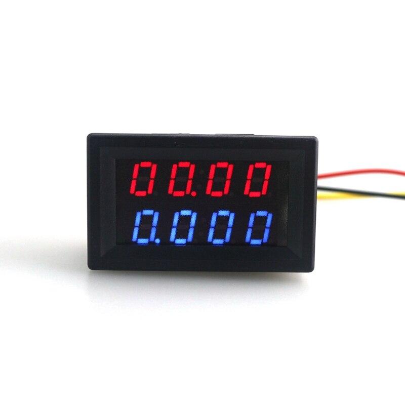 Digital DC 200V 0 10A Voltmeter Ammeter Red Blue LED Dual Display for 12v 24v Car