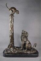 Горячие продаж Бронзовые Скульптуры Животных грозным Лев с обезьяной Статуи украшения дома бытовые отель предметы мебели
