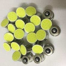 Светодиодный фонарь COB 100x1156 BA15S P21W 1157 Bay15d P21/5 Вт, 12 чипов, лампа для заднего хода автомобиля, сигнальные огни поворота, белый, желтый, красный