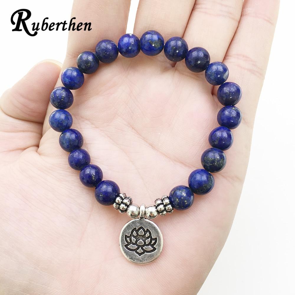 Ruberthen High Quality Lapis Lazuli Bracelet Natural Stone Bead Mens Bracelet Throat Chakra Spiritual Gift for Him