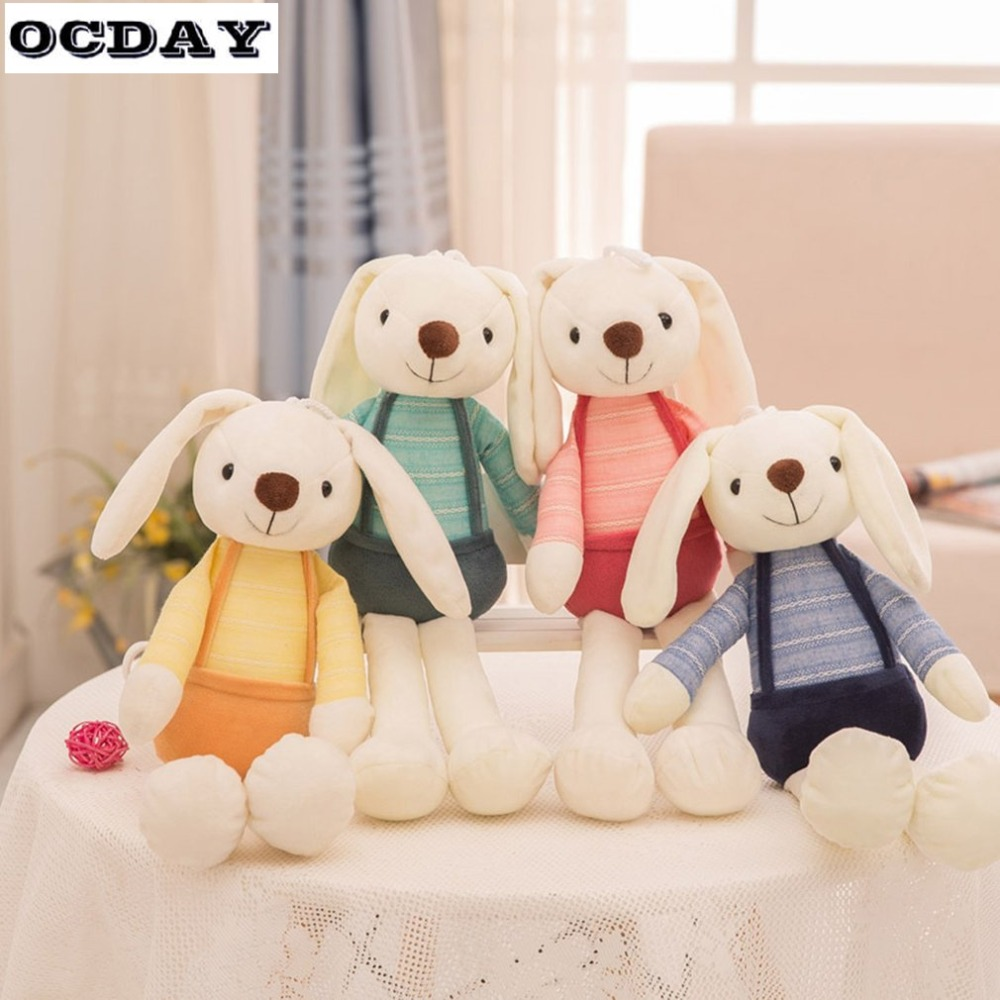 OCDAY Cute Rabbit Doll Plush Animals Stuffed Toys Pets Soft Kids Baby Rabbit Toys For Girls Children Birthday Gift Sleeping Doll