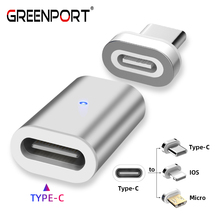 GREENPORT Type C Adapter Magnetic Charger USB Connector for Samsung iPhone Xiaomi Huawei Phone Charger Cable Converter