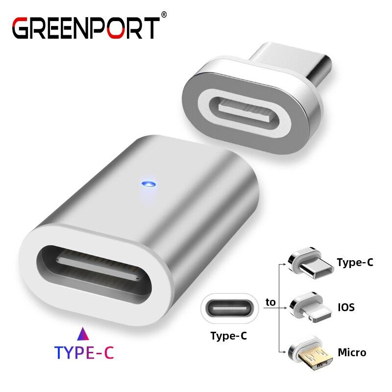 US $1.27 27% OFF|GREENPORT typ C Adapter ładowarka magnetyczna USB łącznik do samsunga iPhone Xiaomi Huawei kabel do ładowarki telefonu konwerter w