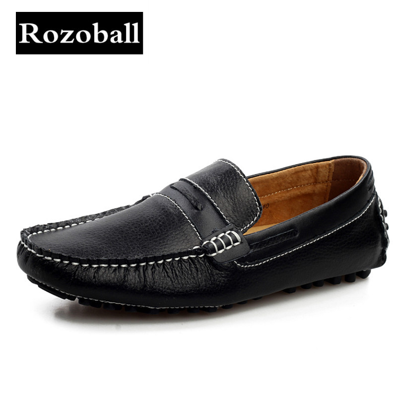 Rozoball Shoes Men Casual Shoes Fashion Driving Loafers Men Breathable Italian Leather Shoes Men Soft Moccasins Footwear Male(China)