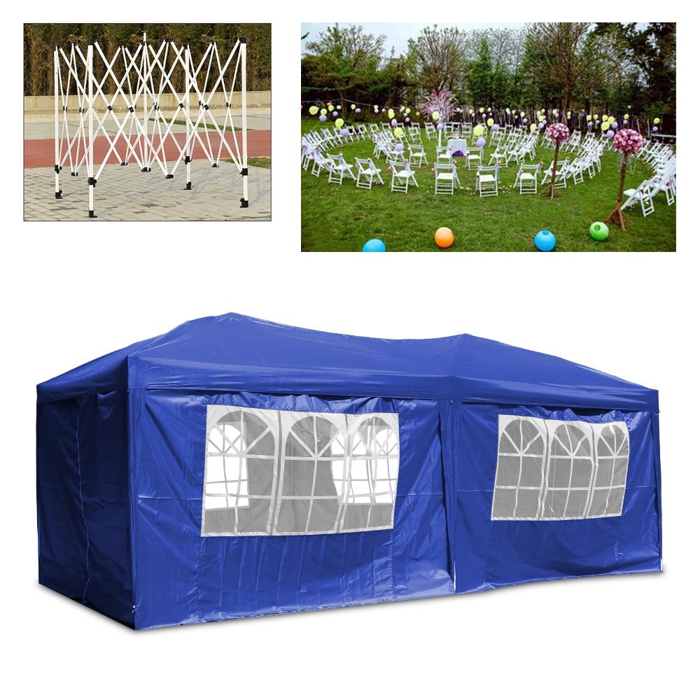 Folding 3x6 M Azul Gazebo Ao Ar Livre Toldo Tenda Marquise Jardim Festa Evento Ao Ar Livre à prova d' água-poliéster oxford com paredes laterais