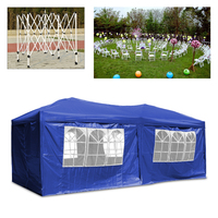 Folding 3x6M Blue Outdoor Gazebo Tent Garden Marquee Awning Party Outdoor Event waterproof polyester oxford with side walls