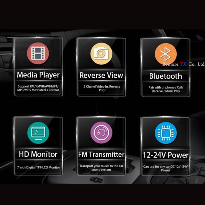 Koorinwoo UE Multimedia 1024 p HD 7 MP5 Monitor Espelho Do Bluetooth retrovisor Do Carro da câmera de Vídeo de Alarme Buzzer Parktronic sensores - 4