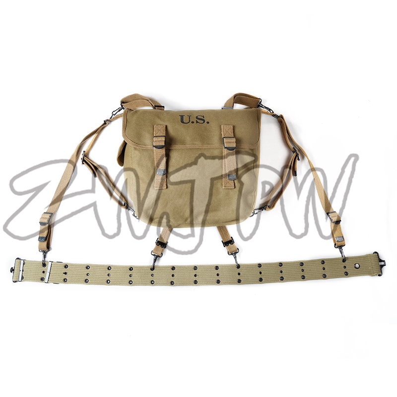 WW2 US ARMY M36 BAG AND US BELT X STRAPS EQUIPMENT COMBINATION HIGH QUALITY
