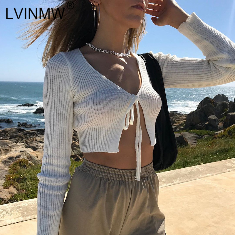 LVINMW White Knitted Slim Crop Tops 2019 Autumn Women Lace Up Bow Split Long Sleeve T Shirts Sexy Female Party Streetwear Tees
