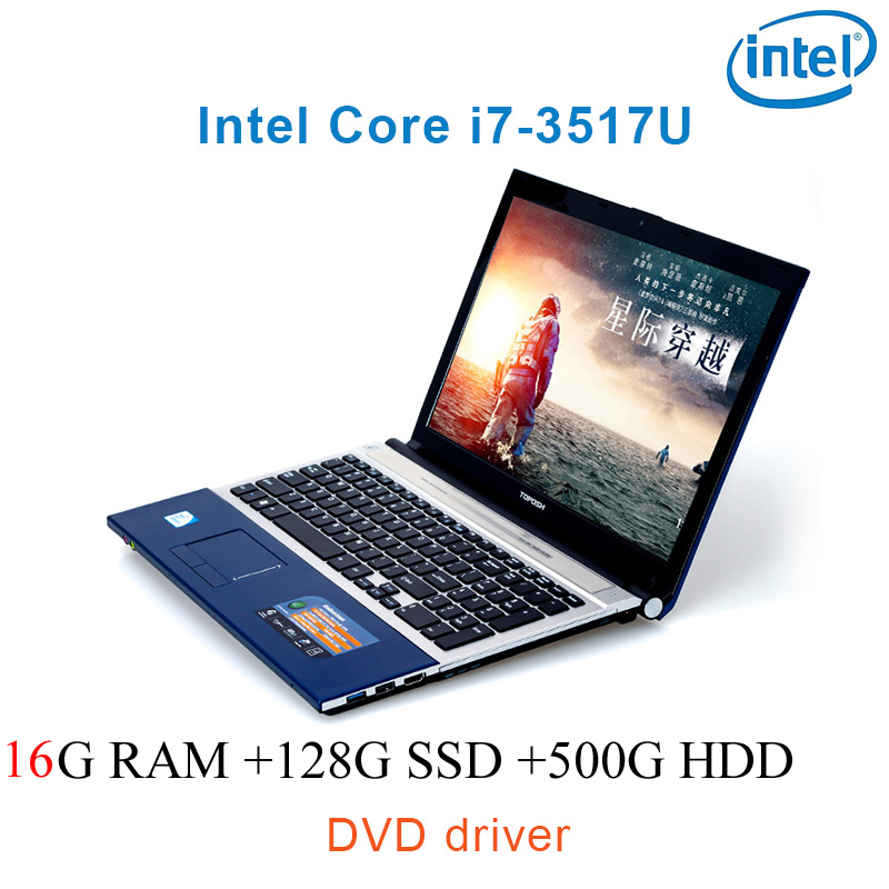 """נהג ושפת os זמינה 16G RAM 128g SSD 500G HDD השחור P8-24 i7 3517u 15.6"""" מחשב נייד משחקי מקלדת DVD נהג ושפת OS זמינה עבור לבחור (1)"""