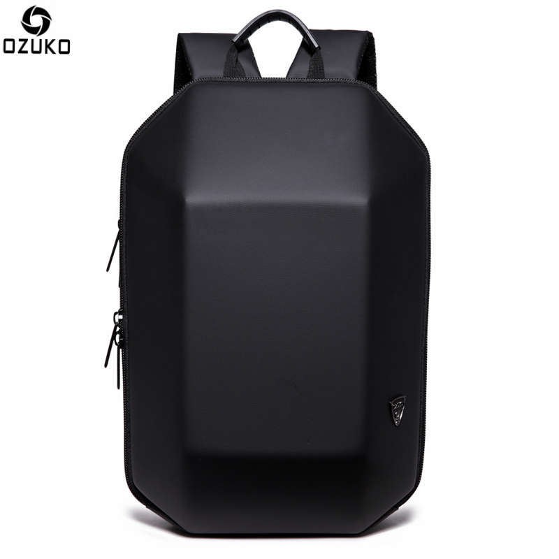 OZUKO Laptop Backpack Black Stereoscopic Men s Backpack Large Capacity Multifunction Casual Fashion Anti theft Computer