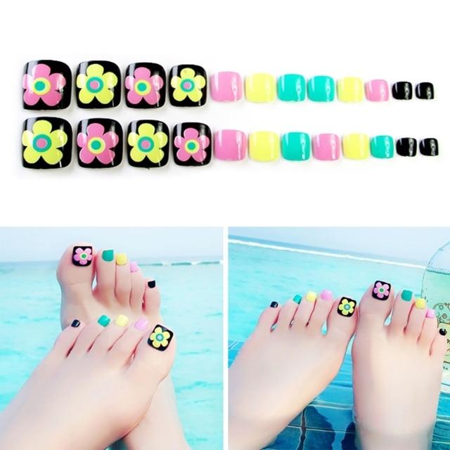 24 Pcsset Women Flower Toe Full Fake Nails Foot Full Toes Nail Art