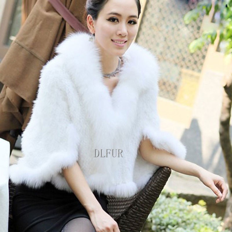 Hot Sale Genuine Mink Fur Shawl With Fox Fur Trim Women Natural Mink Fur Poncho Winter Knitted Mink Fur Jackets DL6235 (17)