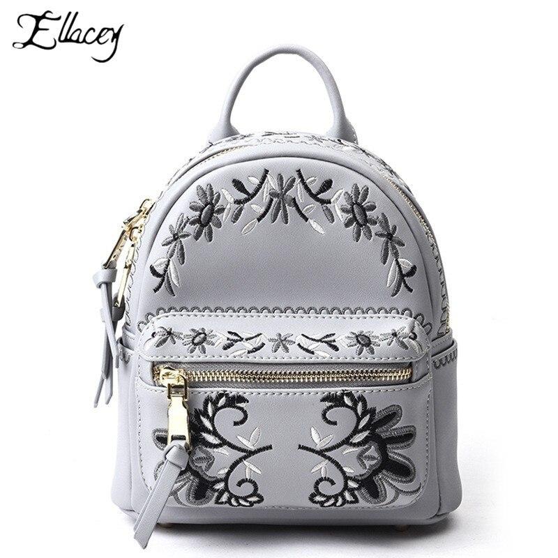 2019 Nouveau Brodé Véritable sac à dos en cuir Femmes De Mode D'origine mini sac à dos En Cuir bagpack mochila sac à dos de voyage