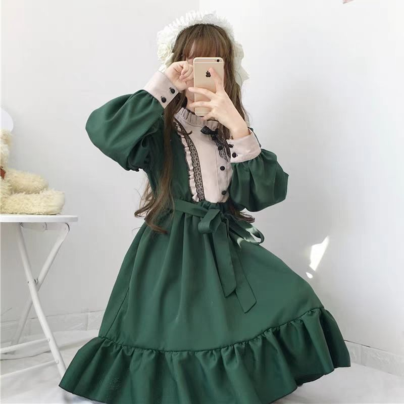 Tea Party Women Vintage Lolita dess Girl Long sleeve dark green Lolita Dress Gothic lolita cosplay Lace dress Maid Costumes S/M