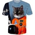 Первая Кошка в Пространство Тройник 3d space cat котенок т рубашки женщины мужчины топы тис животных печати summrt футболки harajuku рубашка
