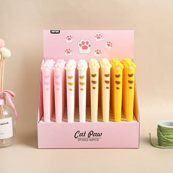 40pcs Kawaii Gel Pens Lot Super Cute Cat Paw Pens for School Office Supplies Cute Stationary Student Kids Gift Fashion Girl Pen