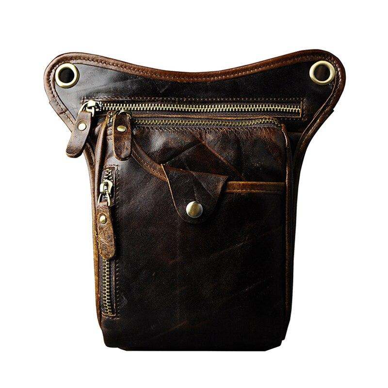 Hommes en cuir véritable jambe sac taille Fanny Pack ceinture Hip Bum militaire voyage multi-usages Messenger épaule sacs décontracté téléphone sac