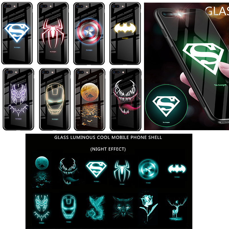 Luxury Batman Marvel Comics Luminous Case For iPhone 11 Pro MAX XS MAX XR 8 7 6s Plus Tempered Glass Phone Cases Captain Shield