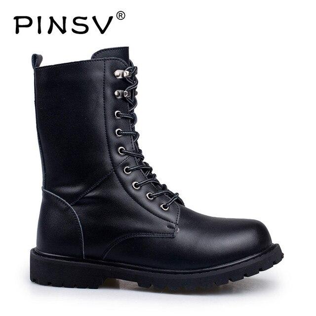 PINSV Buty Wojskowe Mężczyźni Ciepłe Buty Zimowe Męskie Skórzane Buty Obuwie Kowbojskie Buty Taktyczne Mężczyzna Butów Rozmiar 38-48
