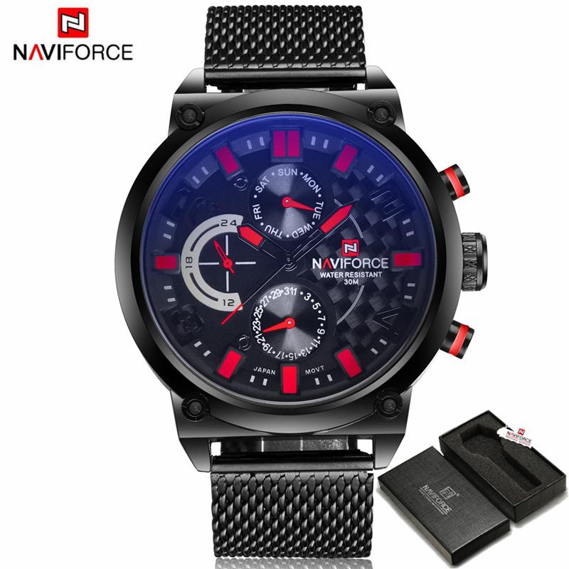 Prix pour Relogio masculino naviforce hommes montres top marque de luxe noir montre à quartz en acier hommes casual sport chronographe montre homme horloge