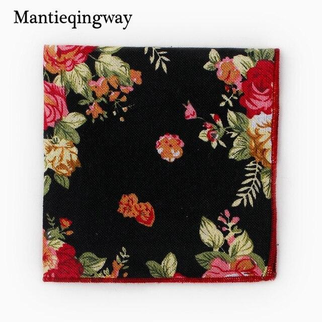 Mantieqingway Cotton Hanky Blue Black Paisley Men Popular Floral Pocket Square Handkerchiefs For Men Suit Handkerchief Wedding