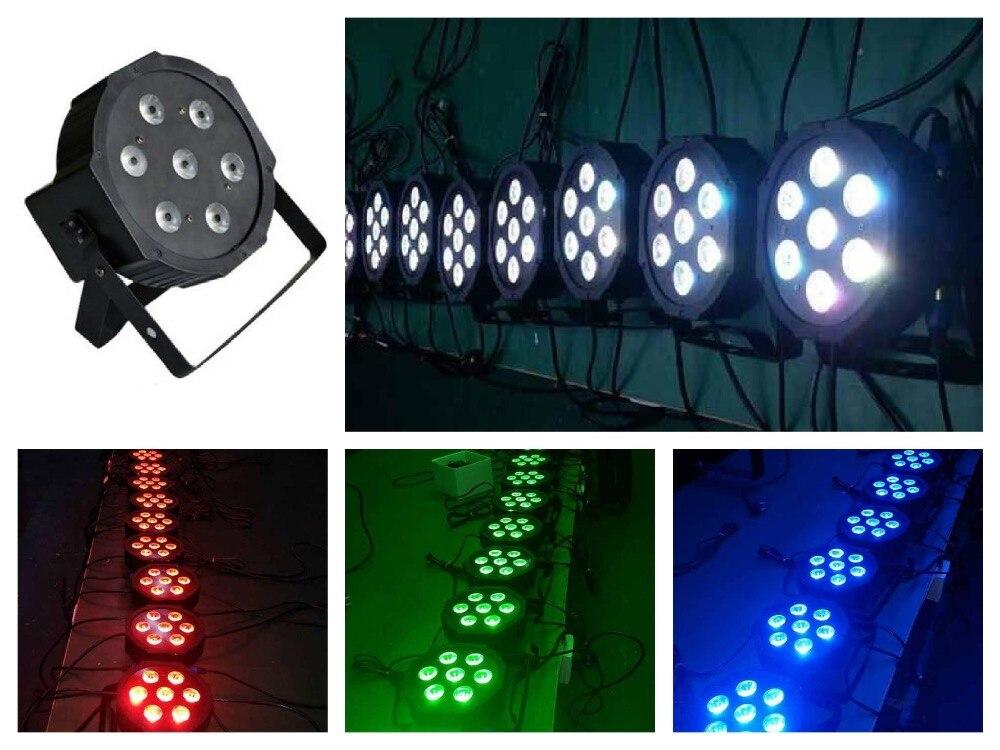 ФОТО 10pcs/Lot, Slim LED par 7x3W RGB 3in1 triple Flat Par Can Light mini DJ Stage Lights Disco Club Bar rgbw led par64