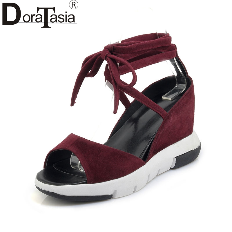 DoraTasia 2018 Summer New High Quality Natural Suede Women Ankle Wrap Sandals Elegant Platform High Wedges Casual Shoes Woman new women sandals low heel wedges summer casual single shoes woman sandal fashion soft sandals free shipping