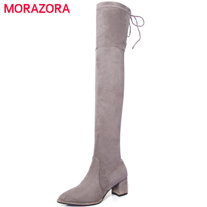MORAZORA Big size 34-42 high heels shoes woman over the knee boots ribbon spring autumn fashion boots stretch big size 34-42 memunia big size 34 43 over the knee boots for women fashion shoes woman party pu platform boots zip high heels boots female