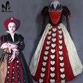 Алиса В Стране Чудес 2 Красная Королева косплей костюм Хэллоуин костюмы для взрослых женщин Красная Королева dress fancy костюм Королевы