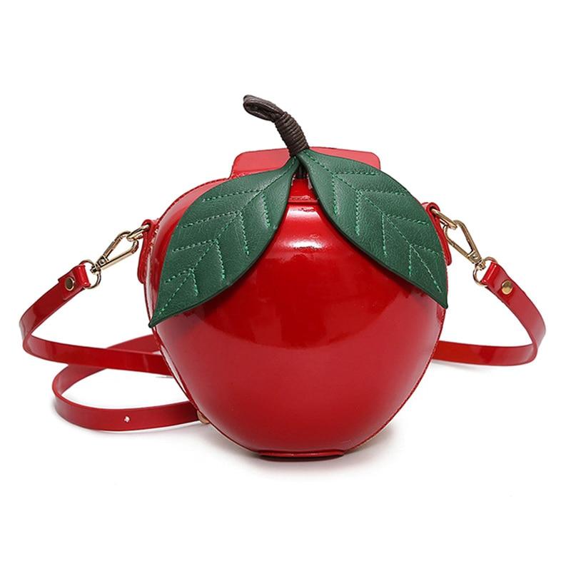 Fashion Women Message Bags Leather Apple Shape Single Shoulder Bag Lovely Coin Purse Ladies Girls Crossbody Handbag LXX9